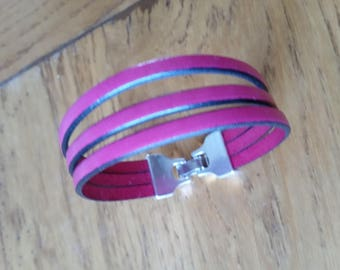 Fuchsia hook clasp leather bracelet