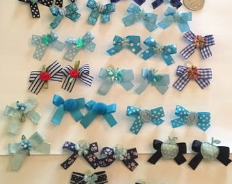 30 XSMALL all Decorated Blue print dog bows Boy Dog Bows Boy Dog Grooming Bows top quality ribbons USA