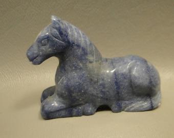 Stone Horse Blue Quartz 2 inch Carved Gemstone Animal Carving Figurine #e1