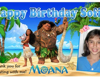 12 MOANA Birthday Party Favors Personalized photo MAGNETS free shipping