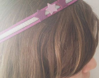 Headband cords purple and stars for girls