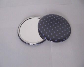 Fabric Pocket mirror purple dots purple 5.6 cm