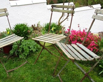 French Folding Chairs, Set Of Three Chairs, Folding Bistro Chairs, Vintage  Folding Chairs