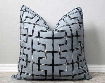Schumacher Bleecker Decorative Pillow Cover-Twilight Geometric Grey Linen-18x18, 20x20, 22x22