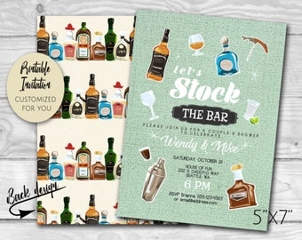 Couple's Wedding Shower | Retro Stock the Bar Party Invitation | Liquor Bottle Invite | Custom Printable PDF