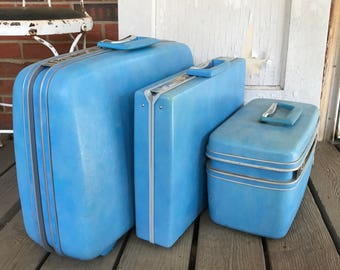 Vintage Set of 3 Three Samsonite Silhouette Baby Blue Suitcases Hard Case Luggage Retro Travel