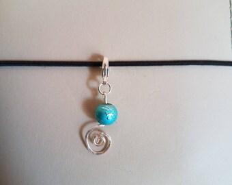 Light Blue Beaded Spiral Charm