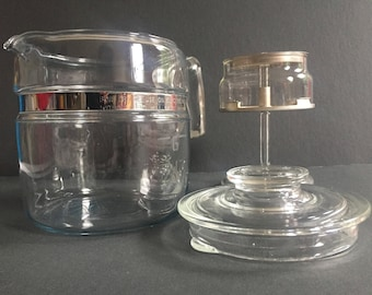 PYREX PERCOLATOR Clear Glass #7756 6 Cup Made In USA Complete Vintage Coffee Making