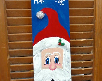 Hand painted Santa and Ho HO HO on a fan blade wall or door hanger by Debbie Easley