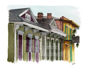 New Orleans Print, French Quarter, Watercolor Print, Architecture Art, Travel Art, Pen And Watercolor, New Orleans Art, Shotgun Houses