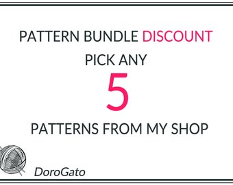 Any 5 Patterns from my Shop, Pattern Bundle, Bundle Discount, Crochet patterns, Knitting patterns
