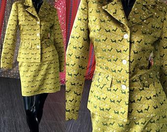 Nicole Miller Dress Suit Novelty Print Brocade Silk Jacket Skirt Suit Nicole Miller Collection