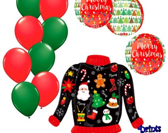 Ugly Christmas Sweater Party Balloon Kit/Funny Ugly Christmas Sweater Party Decorating Ideas Deluxe 12 pc Latex, Mylar Balloons Party Pack