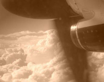 Plane with Propeller Antique Look in Sepia