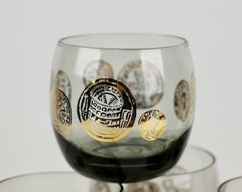 Smoked Glass Roly Poly Glasses 10oz Set of 6 Roma Coins Federal Glass