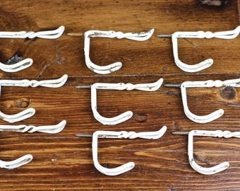 Vintage Twisted Screw in Wire Coat Hooks Set of 9