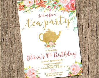 Tea Party birthday Invitation, Shabby Chic Birthday Invitation, First Birthday girl birthday invitation, watercolor flowers, printable