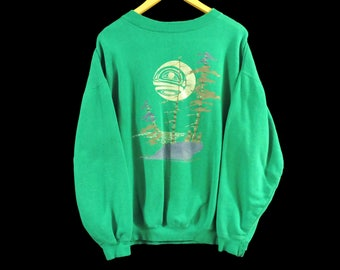 VTG New Moon Rising Crewneck Sweatshirt - Large - Teal - Native American - Green - Free Shipping - Vintage Clothing - 90s Clothing -