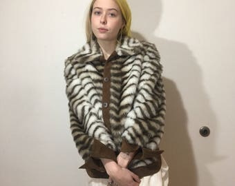 Vtg 90s Faux Fur Gino Rossi Jacket - Medium Womens - Because! It's by Gino Rossi - Union Made Clothing - Vegan Leather - Vintage Fashion -