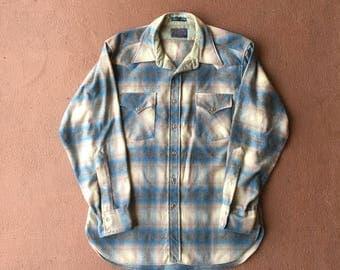 Vtg Pendleton Virgin Wool Plaid Western Shirt - Large - Cowboy Shirt - 1970s - 70s Clothing - Vintage Clothing - Mens -