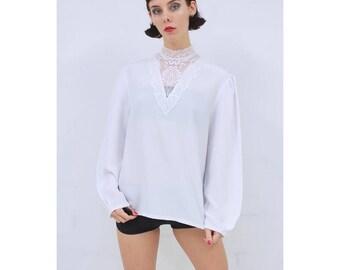 Vintage - 80's - Retro - SWEET - GOTHIC - White - Floral - Lace - Bib - High Neck - Blouse - Top - AUS 10 - S - Small