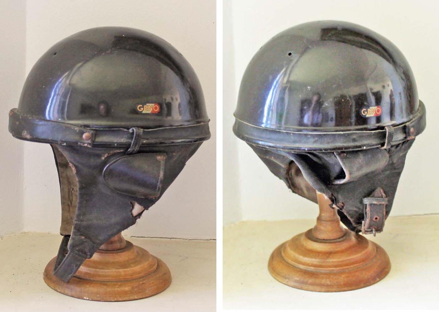 Vintage leather Motorcycle helmet 'Paris Geno' 1960s