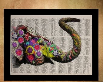 SUMMER SALE-Ends July 5- Painted Elephant Dictionary Art Print India Wildlife Animal Wall Art Home Decor Fine Art Print Vintage da615