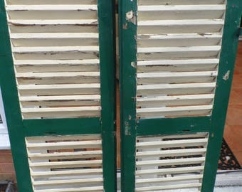 All Original Circa 1900 French Wooden Window Shutters Shabby Chic Wall Decoration Shop Display Architectural Salvage