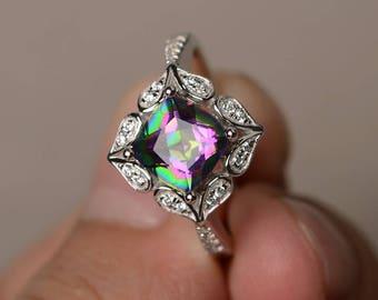 Mystic Topaz Ring Anniversary Ring Rainbow Topaz Ring Cushion Cut Rainbow Gemstone Sterling Silver Ring