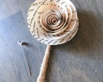 Mens Boutonniere - Wedding Boutonierre - Wedding Button Hole - Wedding Flowers - Groomsmen Flower - Lapel Pin - Wedding Keepsake - Book Page