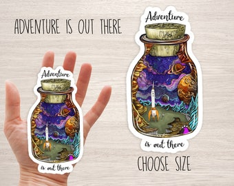 Adventure is out there vinyl laptop stickers iphone space galaxy moon sky stars cool deca skateboard planner, diary universe space rocket