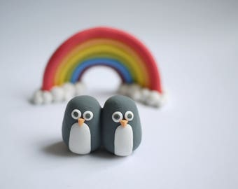 Penguin Wedding Cake Topper (With or Without Rainbow)