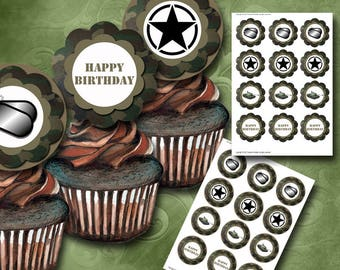 Army Cupcake Toppers Instant Download Printable Cupcake Toppers