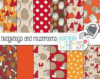 "Fall Digital Paper - ""Hedgehogs and Mushrooms"" - hand drawn woodland autumn seamless patterns in red, orange and gold - commercial use OK"