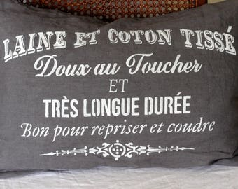 French Country 100% Linen Pillow with Zipper and Feather Insert