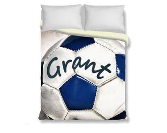 Custom Duvet Cover-Soccer ball with Name Duvet Cover-Sports Duvet Cover-Sports Bedroom Decor-Girls Bedding-Boys Bedding-Personalized Duvet