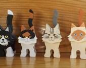 Three custom hand-painted kitties