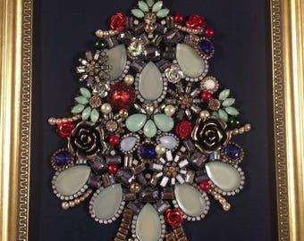 Framed Jewelry Art -  Green jewelry Christmas tree