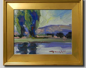 Tree Painting, Impressionist Oil Landscape, Plein Air River Painting, Green Blue Lake Painting, Abstract Water Painting