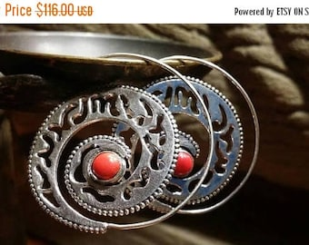 Holiday SALE 85 % OFF Red Coral Golden brass 925 Sterling Silver  hoop Earrings Tribal Ethnic Spiral