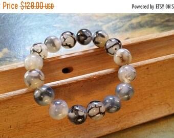 "Holiday SALE 85 % OFF Agate Bracelet Gemstone Stretchy 7.5"" #EtsyGifts FLASH Sale Gift Her"