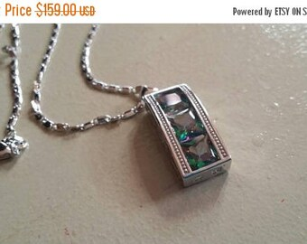 Holiday SALE 85 % OFF Mystic  Topaz  Necklace Pendant Set .925 Sterling  Silver Gemstone