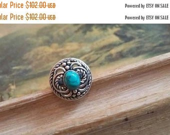 Holiday SALE 85 % OFF Size 6.5 Turquoise Ring Gemstone. 925 Sterling  Silver