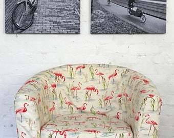 Slip cover to fit Ektorp Tullsta tub chair in beautiful Flamingo print cotton fabric