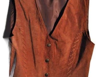 vintage 70s80s vest suede camelbrown Popperbutton 1980s VINTAGE VEST leather Size M