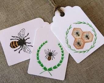 All Occasion gift tags, Bee gift tags, gift tags, Bees, Bee wreath gift tags, gift tags, watercolor tags, party favor tags, bag tags