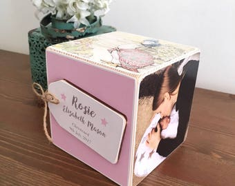 Wooden photo block with personalised tag. Perfect for Weddings, Christenings, Anniversaries, birthdays etc. Lovely photo display keepsake.