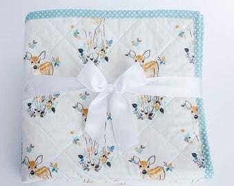Baby Quilt Boy, Baby Quilts Handmade, Woodland Nursery Quilt,  Deer Baby Blanket, Deer  Nursery Bedding, Woodland Animals Blanket