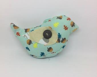 Textile bird bauble (acorn print)