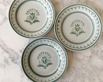 Vintage Arabia Finland Green Thistle Bread and Butter Plates set of 3 | thistle flower & Mcm dinnerware | Etsy
